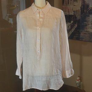 Lucky pink linen blend 1/2 button long sleeve top
